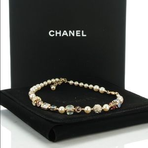 CHANEL Jewelry - Chanel logo crystal and pearl CC choker/ necklace